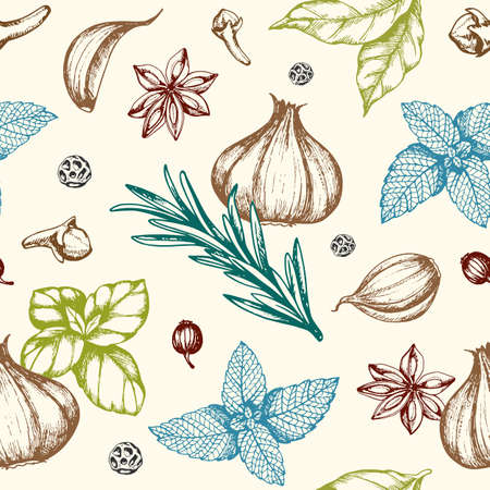 Vintage hand drawn floral seamless pattern with spices and herbs. Vector background