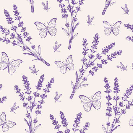 Vintage seamless pattern with lavender flowers and butterflies. Spa and aromatherapy ingredients. Hand drawn vector background