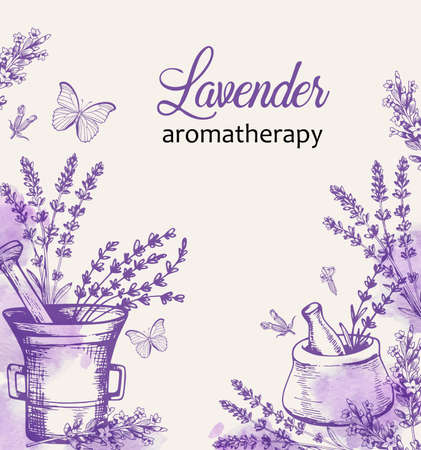 Vintage background with lavender flowers and butterflies. Spa and aromatherapy ingredients. Hand drawn vector illustration.