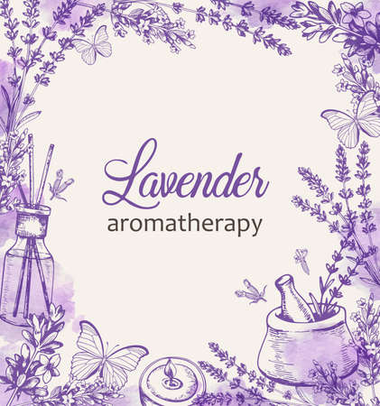 Vintage floral frame with purple lavender flowers and butterflies. Spa and aromatherapy ingredients. Hand drawn vector background. Vettoriali