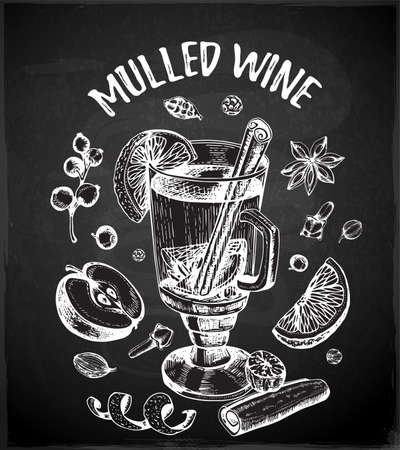 Vintage vector chalk drawing mulled wine and spices on a black background. Traditional Christmas food and drink.