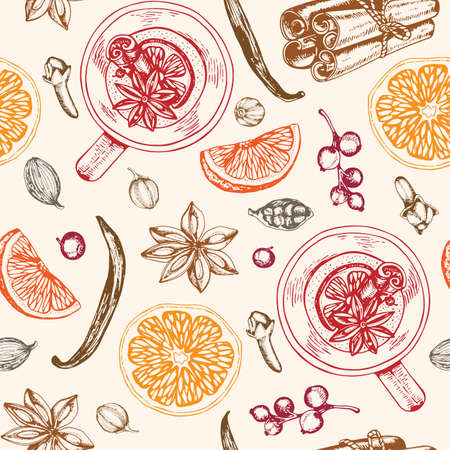 Vintage hand drawn seamless pattern with mulled wine and spices. Traditional Christmas food and drink. Vector background.