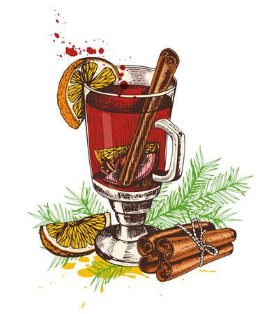 Vintage vector hand drawn mulled wine and spices on a white background. Traditional Christmas food and drink.