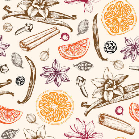 Vintage hand drawn seamless pattern with ingredients ans spices for mulled wine. Traditional Christmas food and drink. Vector background.