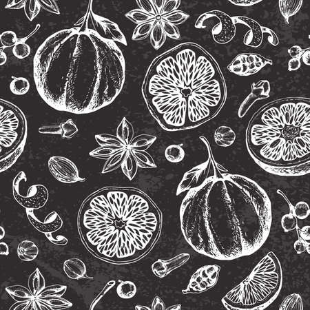 Vintage vector chalk drawing seamless pattern with ingredients and spices for mulled wine. Traditional Christmas food and drink. Decorative hand drawn festive background.