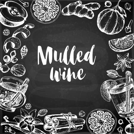 Vintage vector chalk drawing background with mulled wine and spices. Traditional Christmas food and drink.