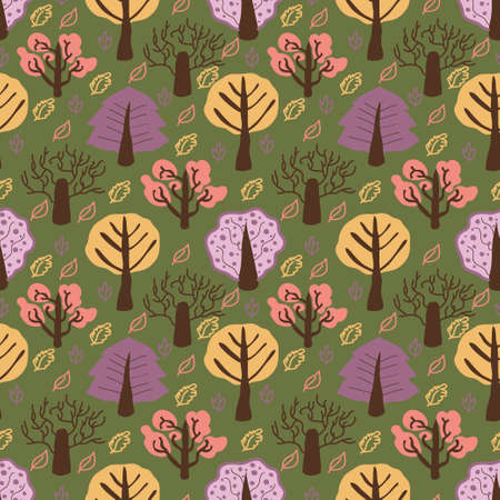 seamless pattern with doodle forest Vector