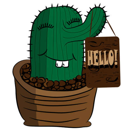 said: Cute funny cactus in flowerpot said hello to you