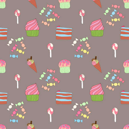 Seamless pattern with sweetness and cakes Vector