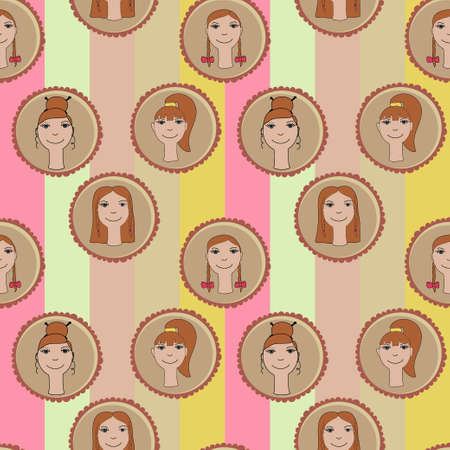 haircuts: seamless pattern of cute girls with different haircuts
