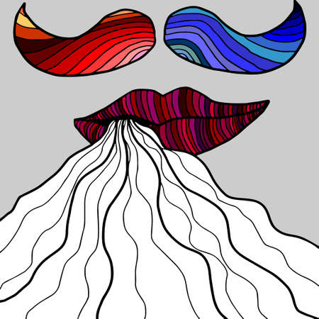 colored smoke: Colorful lips with smoke and mustaches