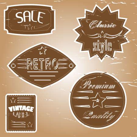 A set of vintage design labels and badges. Vector