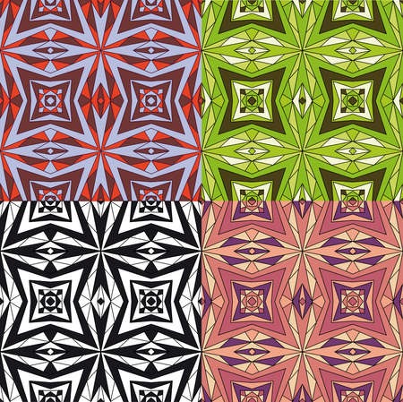 set of Geometric seamless abstract pattern  Vector