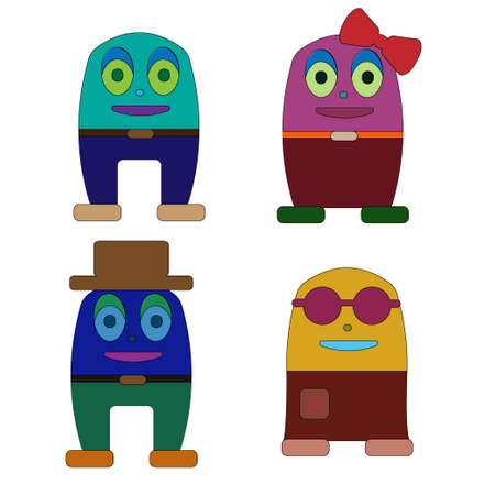 somebody: Set of four cute doodle monsters