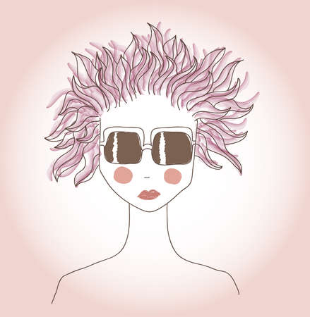 messy hairstyle: Girl in sunglasses with pink hair Illustration