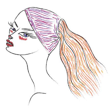 cuello largo: Contorno de una mujer poco atractiva miedo con cuello largo Vectores