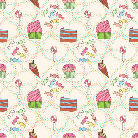 sweetness: Seamless pattern with sweetness and cakes