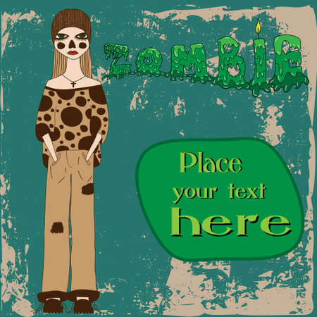 Scary girl with halloween zombie makeup and place for text Vector