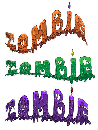 flexure: Word Zombie in three colours and different flexure Illustration