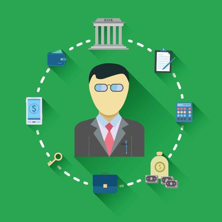 debt collection: Attractive style business icons flat.