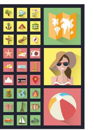 bilding: Fashionable style icons flat. Best summer. Illustration