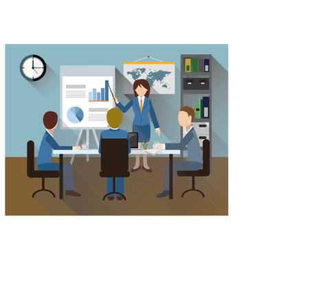 share prices: Business meeting of business people. Illustration
