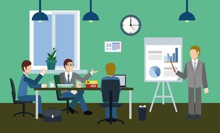fondos negocios: Discusión seria en la oficina Vectores