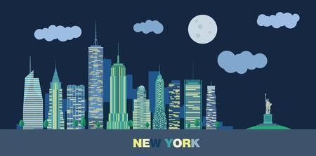 The landscape of skyscrapers of night New York City with the statue of liberty. Vector flat illustration. Illustration