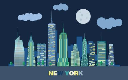 panorama city: The landscape of skyscrapers of night New York City. Vector flat illustration.