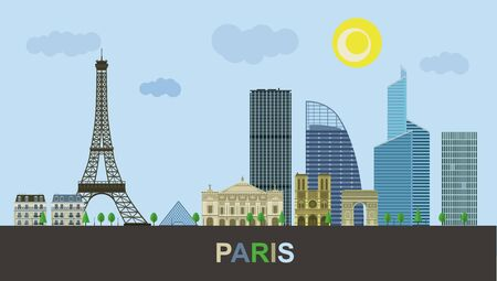 Historical and modern buildings of Paris. Urban landscape of the Eiffel Tower. Vector illustration.