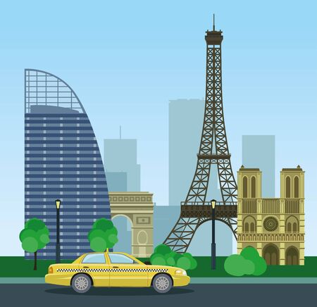 modern buildings: Historical and modern buildings of Paris. Urban landscape of the Eiffel Tower and taxis. Vector illustration. Illustration