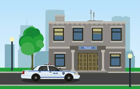 police cartoon: The police car opposite the of the police station.