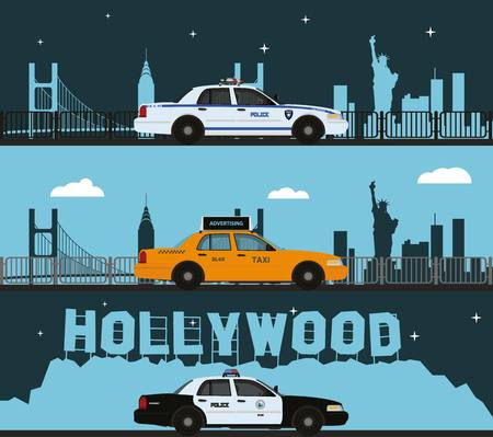 Police cars and taxis on city background.