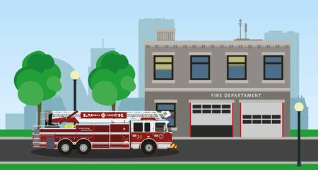 camion de bomberos: The composition of the fire truck and fire station. Vector illustration.