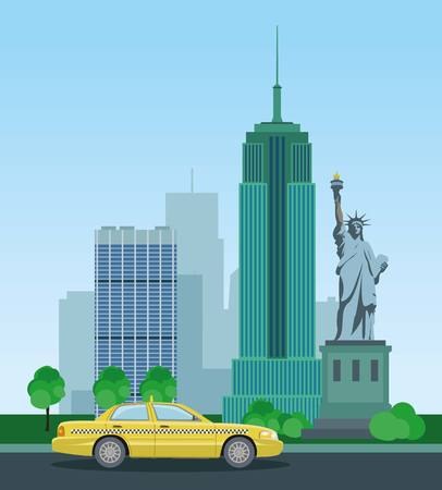 new york taxi: Skyscrapers of New York and the Statue of Liberty. Taxis in New York. Vector illustration.