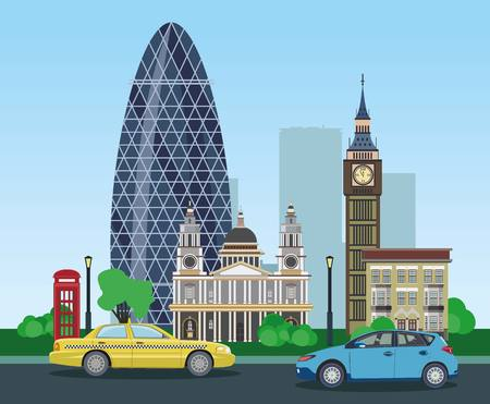 historical building: Modern and historical buildings in London with taxi and car. Vector illustration.
