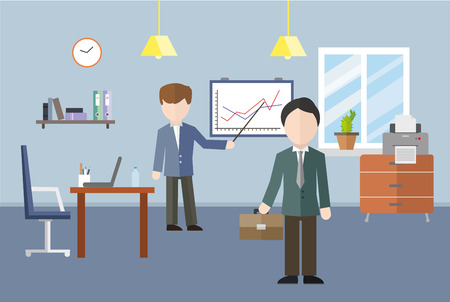 share prices: Office interior with people. Vector illustration. Illustration