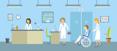 Doctors and patients in a hospital. Vector illustration. Illustration