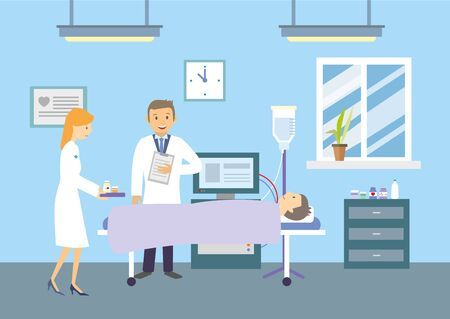 Doctors and patients in the hospital. Vector illustration.