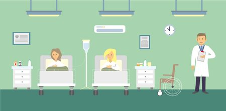 hospital patient: Doctors and patients in the hospital. illustration. Illustration