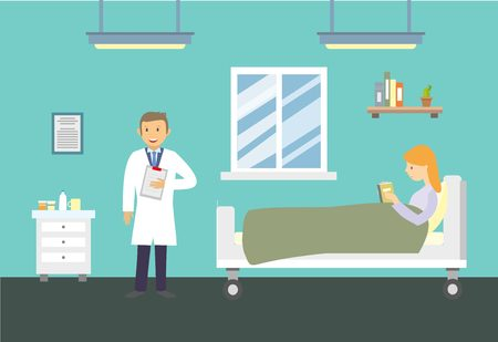 Doctors and patients in the hospital. illustration. Illustration