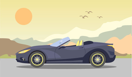 cabriolet: Cabriolet in the background of mountains and the evening sunset. Vector illustration Illustration