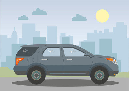 jeep: Jeep on the background of the city. Vector illustration. Illustration