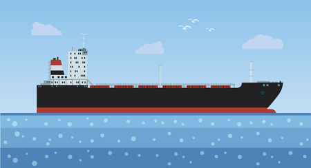Oil tanker with a cargo into the sea. Vector illustration. Stock Illustratie
