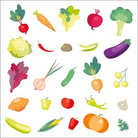 Icons of fresh vegetables. Vector illustration