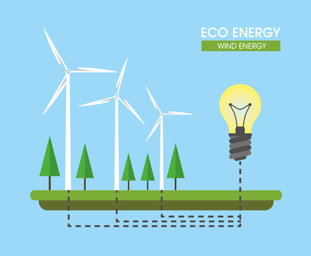 Composition on the topic of alternative energy. Wind turbines. Vector illustration.