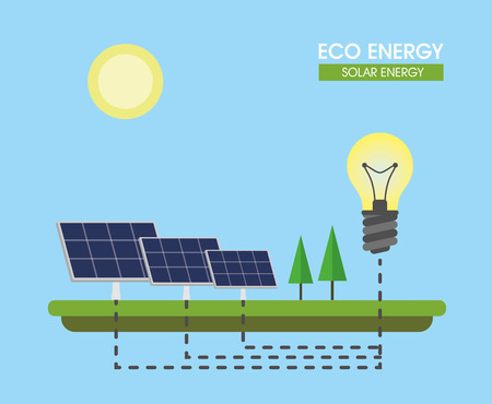Composition on the topic of alternative energy. Solar panels. Vector illustration. Ilustrace