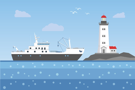 Fishing boat against the lighthouse. Vector illustration. Ilustrace