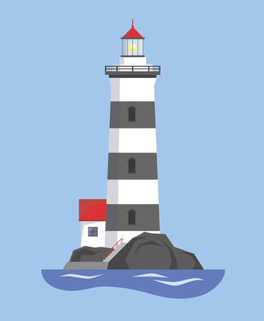 Picture of a lighthouse with a house. Vector illustration.