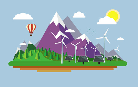 Composition on the topic of alternative energy. Wind turbines and solar panels. Vector illustration.